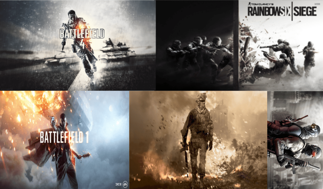Image jeux : Splinter Cell, Battlefield, Call of Duty, Rainbow six siege